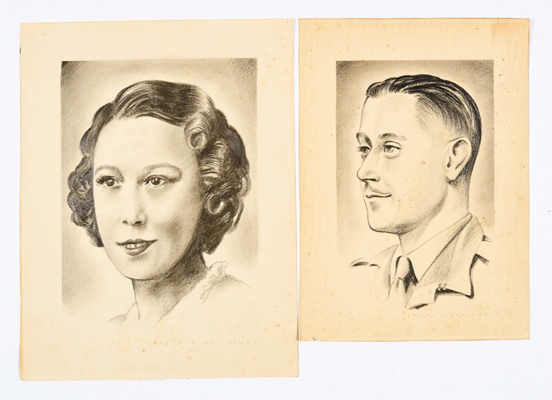 Frank Bellamy art from the 1940s:two original charcoal pencil sketches, both signed in capitals 'Frank A. Bellamy', probably of his parents.9 x 13 ins, 10 x 14 ins (Two artworks)