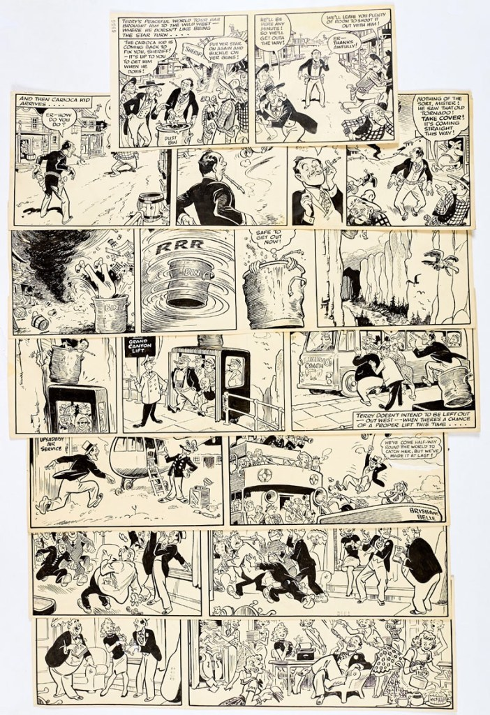 Terry-Thomas/Film Fun 7 original story strips for Film Fun (20 Nov and Dec 13 1960) by Terry Wakefield.From the Bob Monkhouse Archive.Terry's in the reasonably Wild West before he saves the day on the Brisbane Belle. Indian ink on cartridge paper. 1 strip: 13 x 7 ins, 6 strips: 21 x 7 ins (7 artworks)