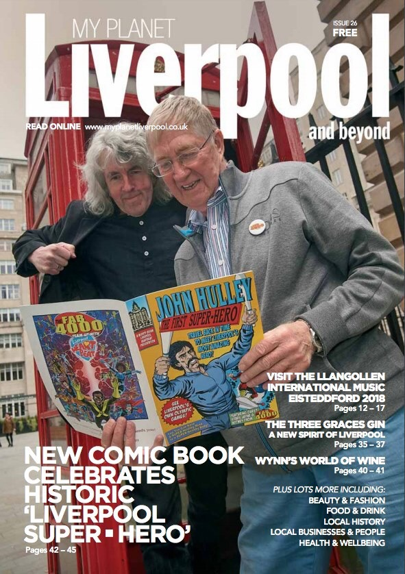 "Tim Quinn and Liverpool Heartbeat founder Robin Baynes on the cover of ""Liverpool and Beyond"" magazine"