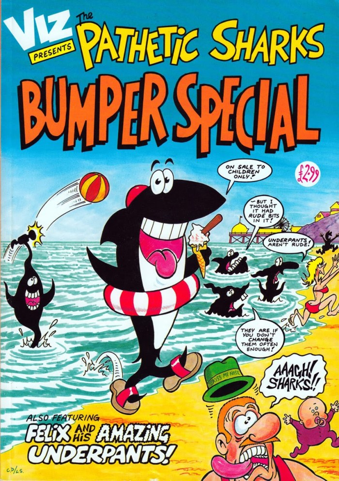 Viz Presents The Pathetic Sharks Bumper Special 1991. Image courtesy Lew Stringer