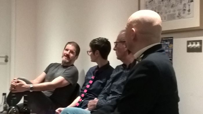 Comics Laureates, Three! In Conversation at the Cartoon Museum on Wednesday 13th November 2019. Left to right: Charlie Adlard, Hannah Berry, Dave Gibbons and Host Jason Atomic. Photo: Neil Kenny