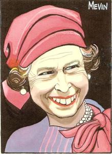 The Queen by Bill Mevin - undated caricature