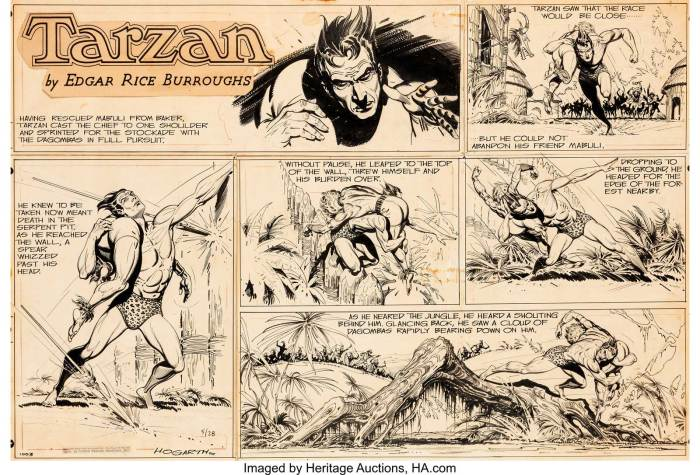"Burne Hogarth Tarzan #1003 Sunday Comic Strip Original Art dated 28th May 1950. An episode from the story arc ""Tarzan and the Adventurers"" features Tarzan escaping from the Dagomba stockade with his unconscious friend Mabuli"