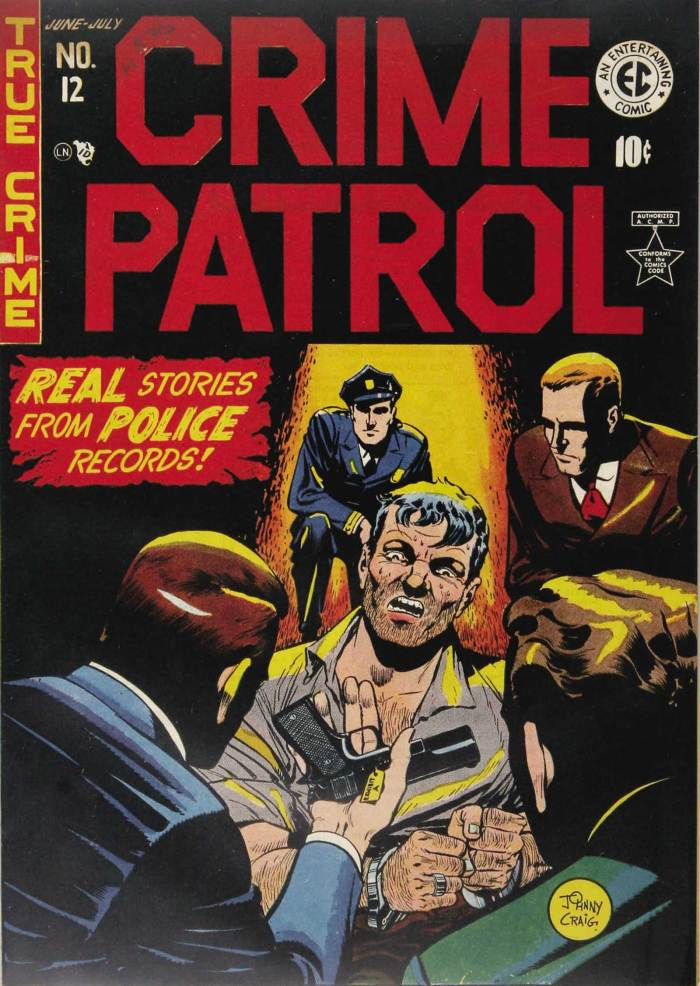 The US edition of Crime Patrol #12 published by EC in 1949, on display in the winder of S Lavner in 1951. Cover art by Johnny Craig