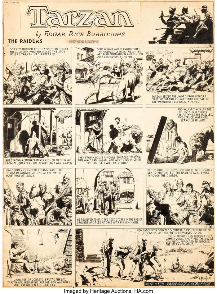 "Hal Foster Tarzan #281 Sunday Comic Strip Original Art dated 26th July 1936. ""The Raiders"" was an episode from fairly early in the famed ""Tarzan in the City of Gold"" story arc. The story, based on the original Edgar Rice Burroughs novel, ran for over a year, from May of 1936 until October of 1937. It was the last story arc by Hal Foster before he moved on to create ""Prince Valiant"". Burne Hogarth would step in to finish the story in May of 1937"