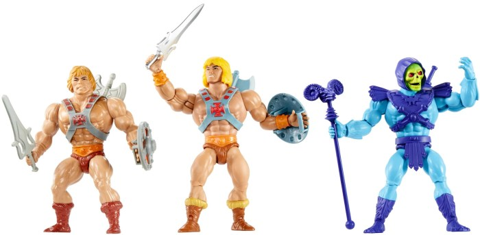 The new Masters of the Universe Origins Line He-Man and Skeletor figures (centre and right), compared with Mattel's vintage Masters of the Universe He-Man figure (left). Photo: Mattel