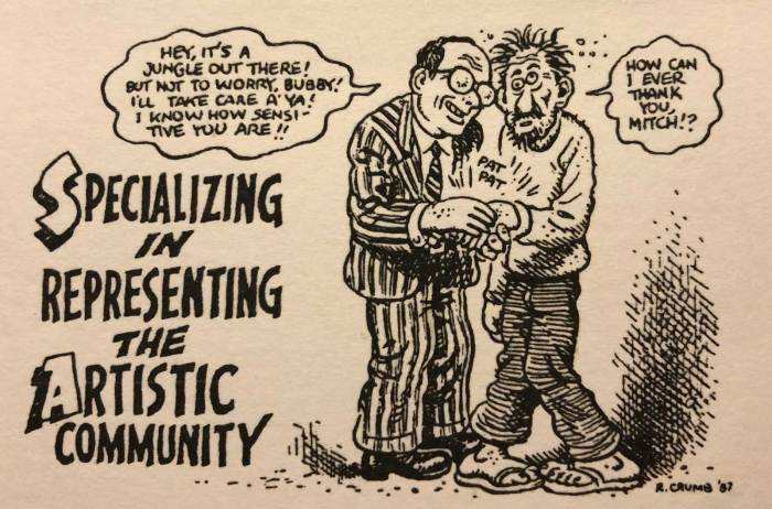 Robert Crumb's homage to Mitchell Berger, which graced the back of his business card