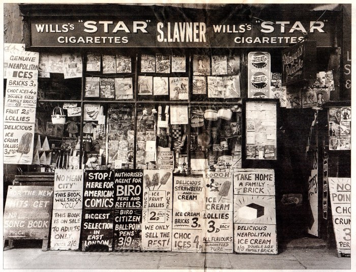 "The shop front of S. Lavner, newsagent, 241 Bethnal Green, London, circa 1951. Released as part of a publicity pack for ""Nigel Henderson's Streets"" in 2017. Photo © Nigel Henderson Estate"