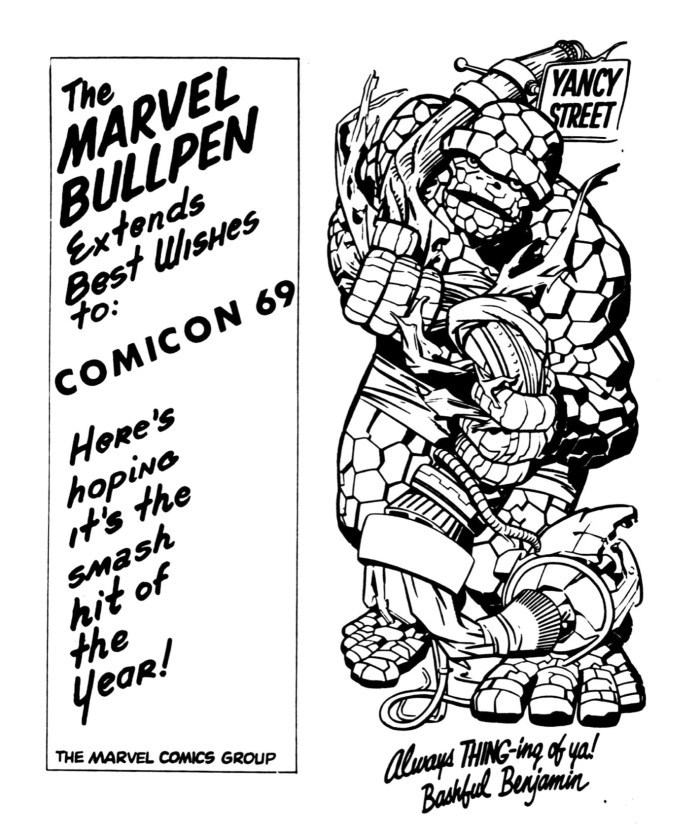 Well wishes to the London ComiCon 1969 on the back of the Convention Booklet from Marvel Comics