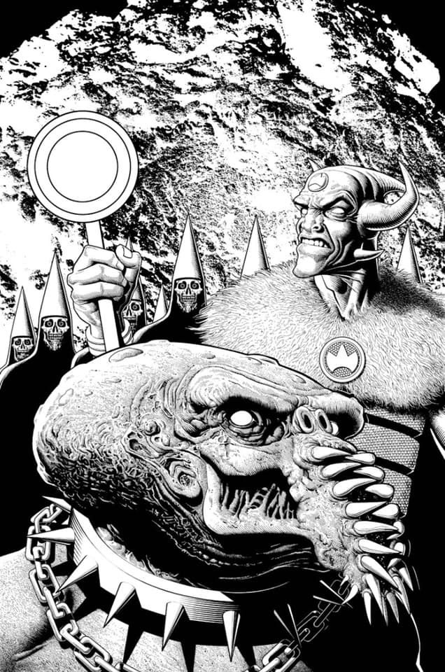 Brian Bolland's inks for his Rok the God variant limited edition cover