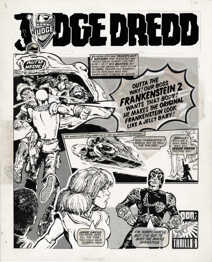 "The opening page of the first ""Judge Dredd"" strip to be drawn by Mick McMahon, intended for the first issue - but which didn't run in 2000AD until Prog 6"