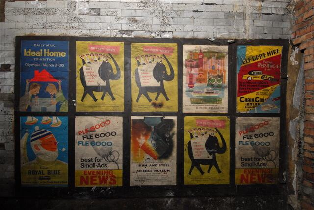 Old posters in disused passageway at Notting Hill Gate tube station, 2010. Photo: London Underground
