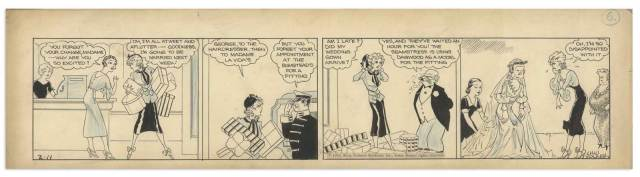 ''Blondie'' comic strip hand-drawn and signed by Chic Young from 11th February 1933. In this four panel strip, Blondie is late for her wedding dress fitting, so Dagwood gallantly steps in to help. From the Chic Young estate.