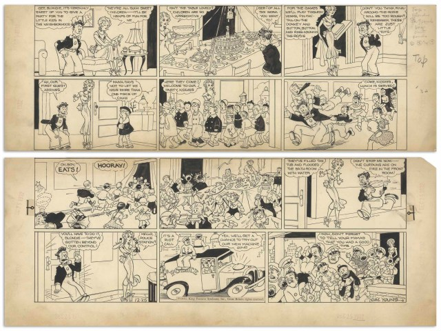 ''Blondie'' Sunday comic strip hand-drawn and signed by Chic Young published on Christmas, 25th December 1932, featuring Blondie, her boyfriend Hiho and a cache of children causing mayhem. 12-panel strip measures 19.75'' x 15'', in two sections comprising the top and bottom halves. Uniform toning and light chipping to margins, overall very good condition. From the Chic Young estate.