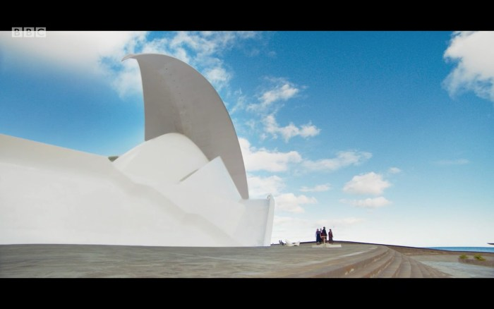 The Auditorio de Tenerife proved a striking location in Doctor Who - Orphan 55. Image: BBC