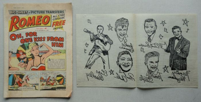 Romeo issue 54, cover dated 6th September 1958, with free Elvis Presley transfers