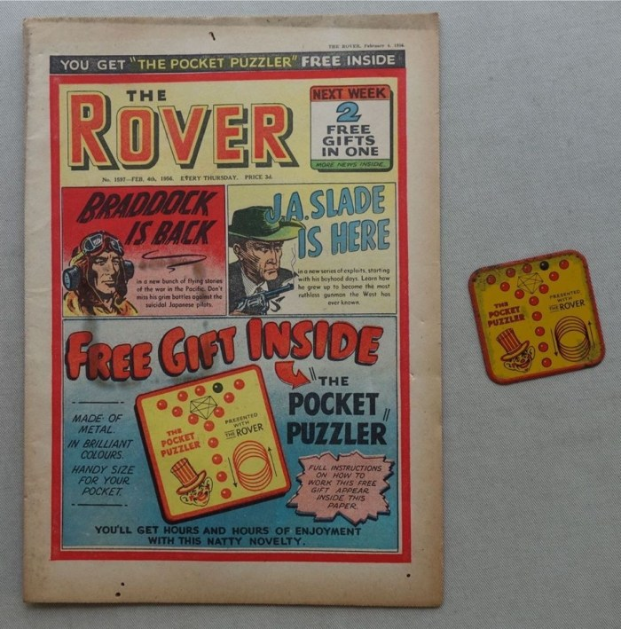 Rover storypaper Number 1597, cover dated 4th February 1956, with free Pocket Puzzler gift