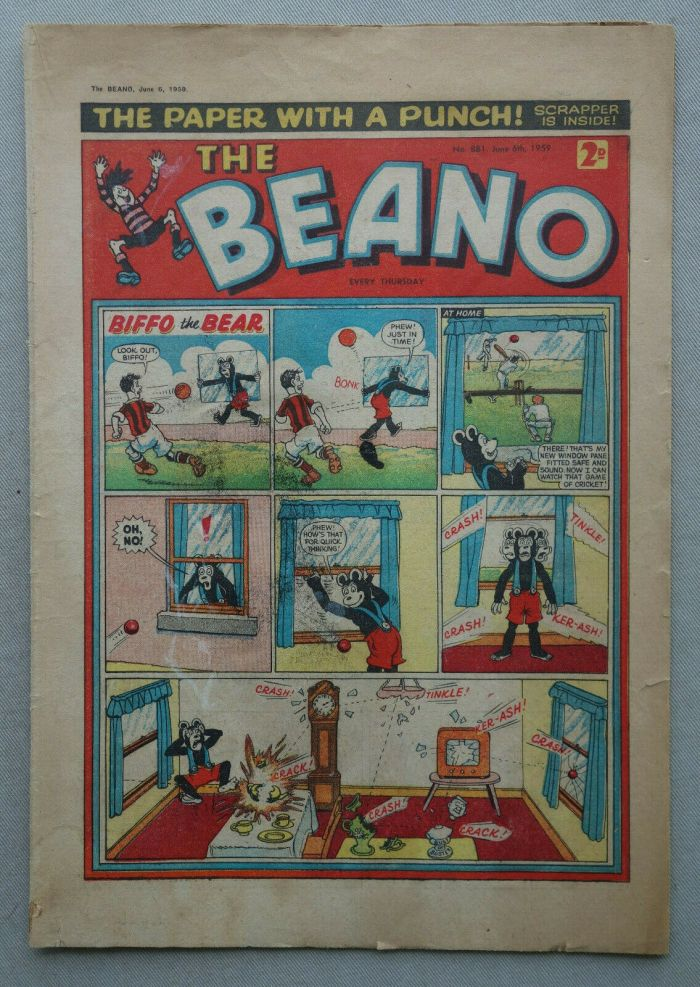 """The Beano 881, cover dated 6th June 1959 - first """"The Three Bears"""" issue"""
