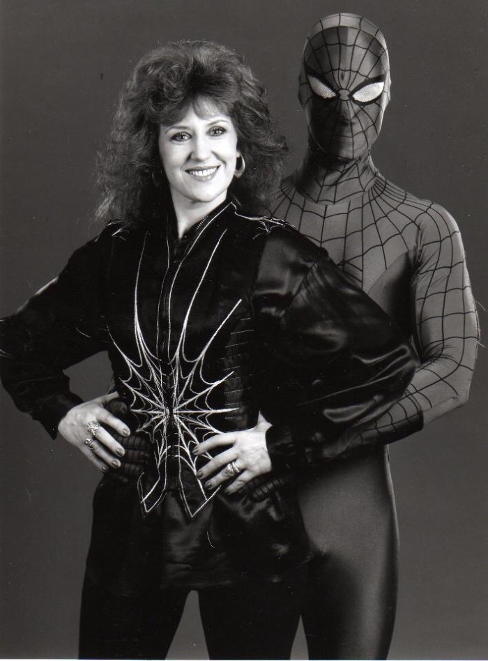 Hiding the state of the costume: Spider-Man meets actress Anita Dobson. Photo courtesy Tim Quinn