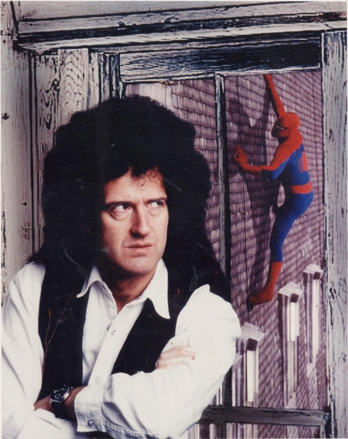 Before the days of Photoshop, this was a killer photo to take: Brian May and Spidey team-up for Dirk Maggs fabulous BBC radio drama. Photo courtesy Tim Quinn