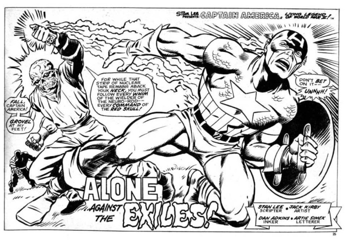 Captain America Splash Page by Jeff Aclin - for Marvel UK