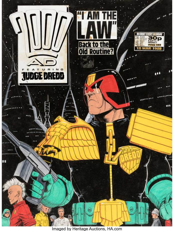 Steve Dillon 2000AD #571 Cover Judge Dredd Original Art dated 4-23-88 (Fleetway Publications, 1988)