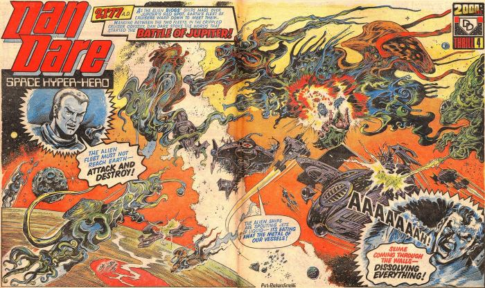 A Dan Dare double page spread for 2000AD Prog 10, by Massimo Belardinelli, as published