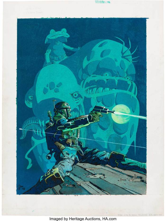 An original Boba Fett painting by Cam Kennedy (Dark Horse, 1998). Cam Kennedy was responsible for Dark Horse's first Star Wars comic book series, and this illustration was used as an exclusive glow-in-the-dark print for the Brussels comic shop Forbidden Zone. The art is a tribute re-creation of Kennedy's Star Wars: Boba Fett, Death, Lies & Treachery cover, which was the first graphic novel dedicated to the popular Mandalorian bounty hunter
