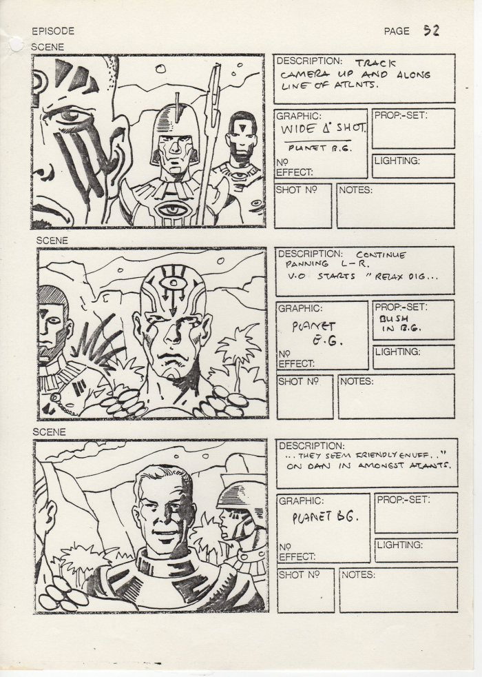 Storyboards for the proposed ATV Dan Dare series. Image courtesy Dale Jackson