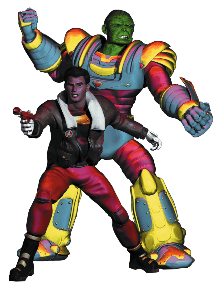 Dan Dare and Sondar, from Dan Dare: Pilot of the Future - Animated Series