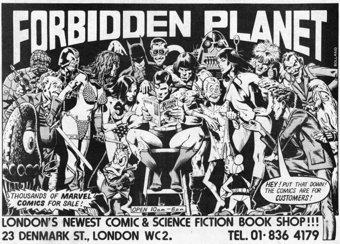 A 1970s advertisement for Forbidden Planet, featuring art by Brian Bolland