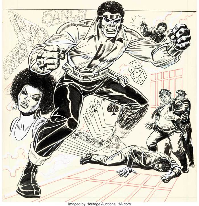 "Hero for Hire #1 Cover Original Art (Marvel, 1972) by John Romita Sr. No matter if you know him as Luke Cage, or Power Man... this is where he got his start! It's the cover of the first issue, and he's already wearing his most iconic costume... Metal tiara, yellow satin open-front blouse, wrist shackle cuffs, and a huge chain belt! This book was an important title for Marvel, as it was a black man starring in his own self-titled comic. Not the first in comics' history, but the first black hero in his own comic for Marvel. The cover was rendered in ink with whiteout art corrections and red ink key lines over graphite on Bristol board with an image area of 11.5"" x 15.5"". It's unclear if this is all-Romita, or if someone helped out (and even if so, in what way). It's been suggested that either George Tuska or Sal Buscema may have helped with some pencils or inks. One thing is for sure... there are JRSR art corrections on Luke's face and figure, and the woman on the left. There is a ""scratch"" technique used on Luke's left leg whereby the artist scratches abrasions on the page itself"