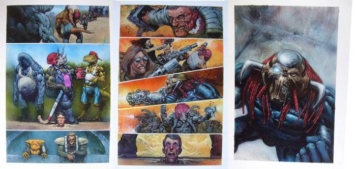Pages from the unpublished Marvel UK series Knuckledown, written by Craig Houston with art by Carl Critchlow. Carl had painted much of the first issue when the project was cancelled