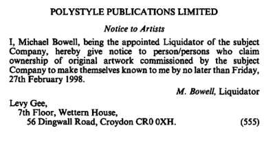 Notice of Liquidation of Polystyle Publications Limited - from the London Gazette, 24th October 1997