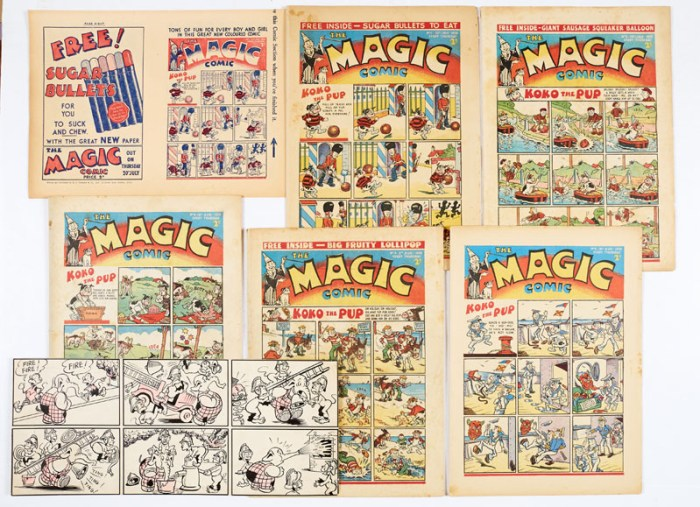 "Magic Comic (1939) 1-5, with Magic comic promotional flyer for No 1 (an eight-page mini comic in its own right) and ""Little Squirty"" original artwork by Chick Gordon for Magic No 2. Introducing ""Koko the Pup"" by E.H. Banger and ""Peter Piper"" by Dudley Watkins"