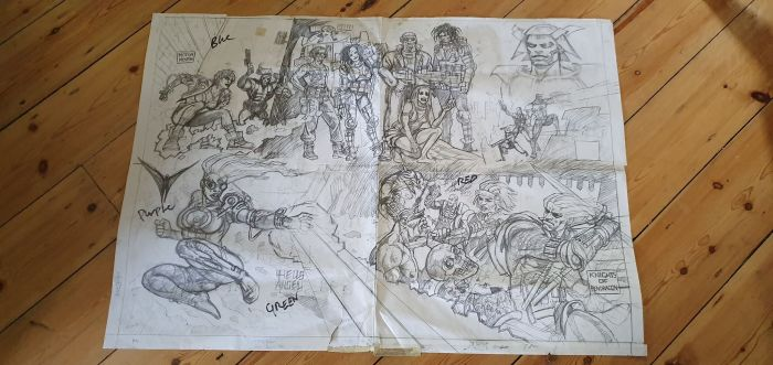 Dermot Power's poster rough for the free poster given away in early issues of Overkill. With thanks to Adrian Clarke