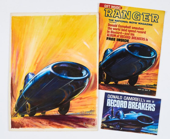 Bluebird original front cover artwork from Ranger No 2 painted and signed by James E McConnell (19650, with Ranger No 2 and free gift Donald Campbell's Book of Record Breakers