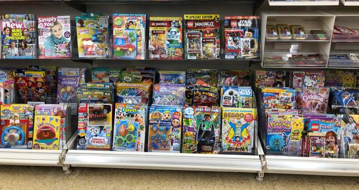 Some of the wide range of comic and young people's titles on sale in Sainsbury's, Lancaster in February 2020, including market leaders Beano and Pokemon