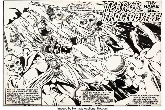 Michael Golden and Duffy Vohland Super Spider-Man #226 Avengers Splash Page Original Art (Marvel UK, 1977). As this British weekly reprinted Marvel books over several issues, when they split up a story, they needed an all new splash page. This splash was created for a reprint of Pages 11-19 of the story from Avengers #115. Michael Golden turned in a bang-up job rendering the Vision, Scarlet Witch, Iron Man, Thor, Swordsman, Mantis, and Captain America! As with all such Marvel UK intro pages, the credits shown refer to the remainder of the story rather than to the splash page itself