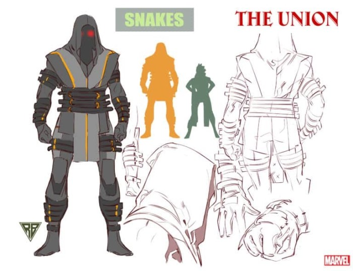 Character design for Marvel Comics The Union's Snakes by R. B. Silva