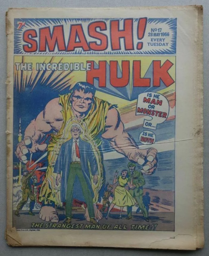 It seems no-one told the editorial team that the Incredible Hulk was green when they created this cover for Smash Issue 17, cover dated 28th May 1966