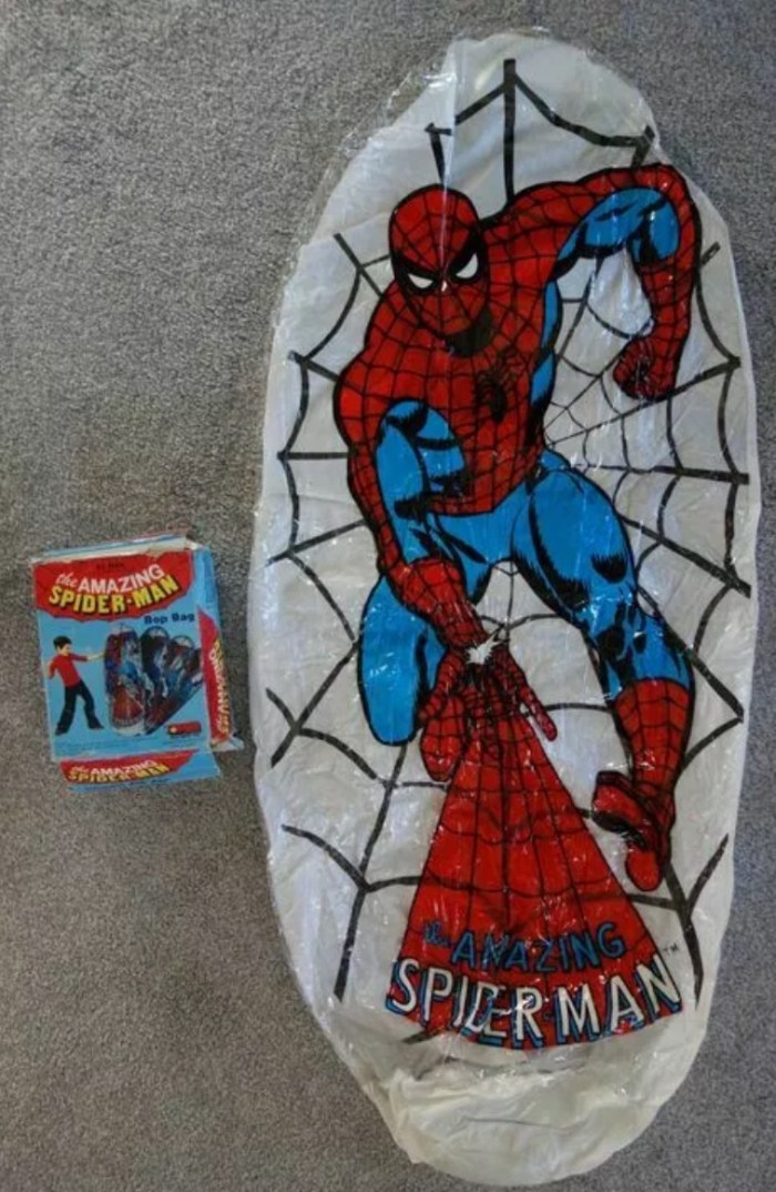 """Amazing Spider-Man """"Bop Bag"""", a Jotastar play-safe toy made in Taiwan. Similar """"bouncing balloons"""" were advertised for sale in 1970s UK Marvel comics"""