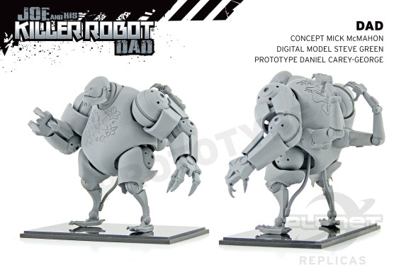 """A prototype model by Daniel Carey-George for """"Joe and his Killer Robot Dad"""" based on concept art by Mick McMahon, a digital model by Steve Green"""