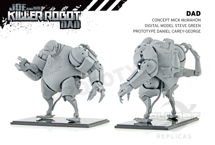 "A prototype model by Daniel Carey-George for ""Joe and his Killer Robot Dad"" based on concept art by Mick McMahon, a digital model by Steve Green"