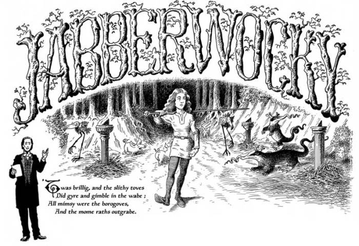 Jabberwocky - an adaptation of the poem by Lewis Carroll, taken from the 320 page graphic novel Alice in Sunderland published in 2007 by Jonathan Cape and still available. Art by Bryan Talbot