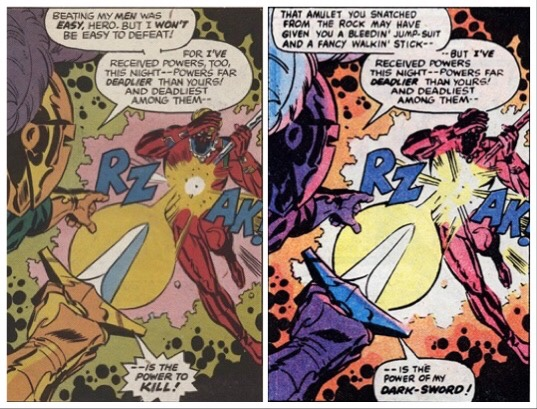A panel from Captain Britain Weekly and the revised version published in Marvel Tales back in 1981