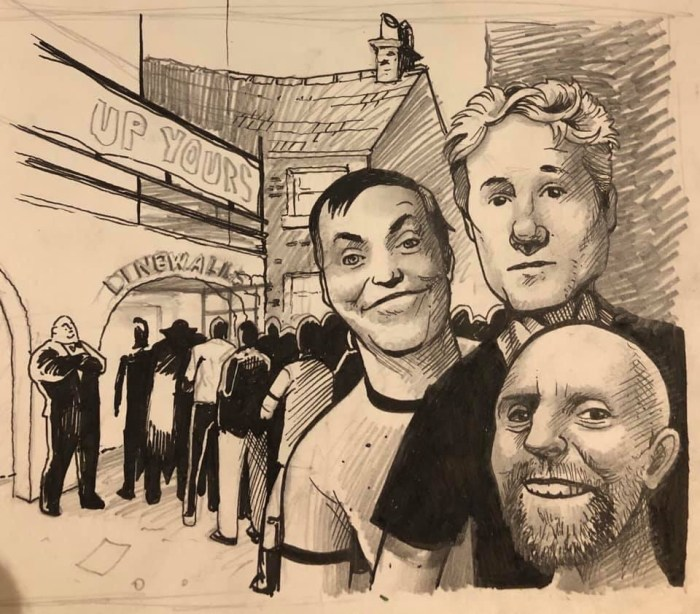 The team behind The77 - Dave Heeley, Ben K Sy and Alan Holloway - art by Neil Blackbird Sims