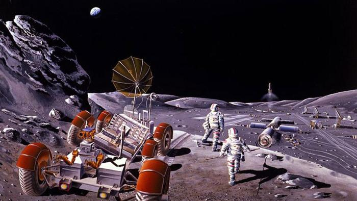 An artist's concept of lunar base and extra-base activity. Created during a 1984 NASA Summer Study at the California Space Institute (CalSpace), Scripps Institute of Oceanography, University of California, San Diego. Credit: NASA/Dennis Davidson