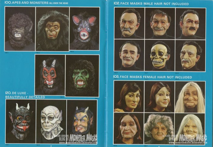 """A spread from the 1983 Cesar Masquerade Catalogue that includes the """"Doomlord"""" mask -via the Bloodcurdling Blog of Monster Masks"""
