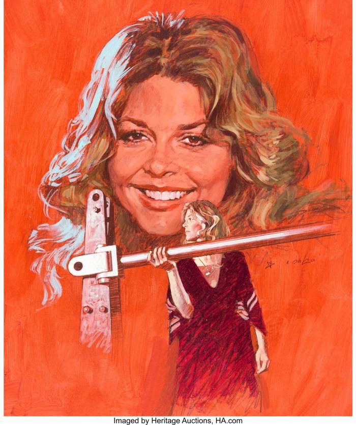"Offered by Heritage Auction is Arnaldo Putzu's art for the cover of Look-In Magazine #3 (1978), for the issue cover dated 14th January 1978, featuring ""The Bionic Woman"".  Just like The Six Million Dollar Man, The Bionic Woman was a big hits on both sides of the Atlantic, evidenced by how many times one of them got the cover for ITV's ""Junior TV Times"". The Bionic Woman also featured as a comic strip, drawn by artists such as John Bolton and Martin Asbury. This lovely cover painting of star Lindsay Wagner was rendered edge-to-edge in gouache and Conte crayon on 14.5"" x 18"" illustration board. Signed in the image area, and with only minimal edge and corner wear, the piece is in excellent condition"